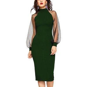 Romwe green tulle puff sleeve mock neck midi dress